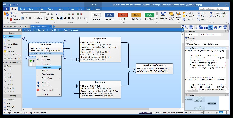 Erd Tool - Entity Relationship Software - Software Ideas Modeler intended for Erd Diagram Online Free
