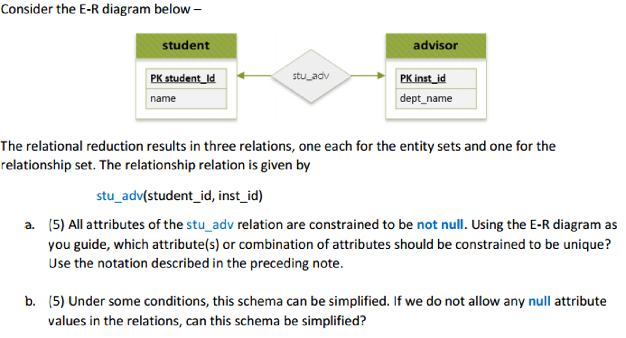 Solved: Consider The E-R Diagram Below - The Relational Re pertaining to Er Diagram Not Null