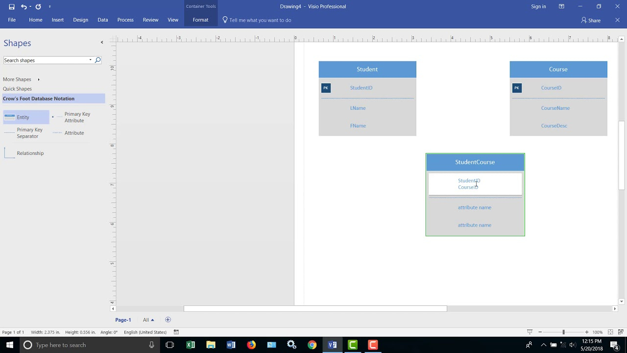 Design A Relational Database With Visio in Create Er Diagram Visio 2016
