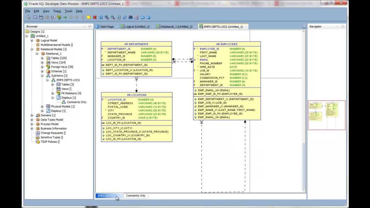 Creating Multiple Displays Of Your Diagrams In Oracle Sql Developer Data  Modeler
