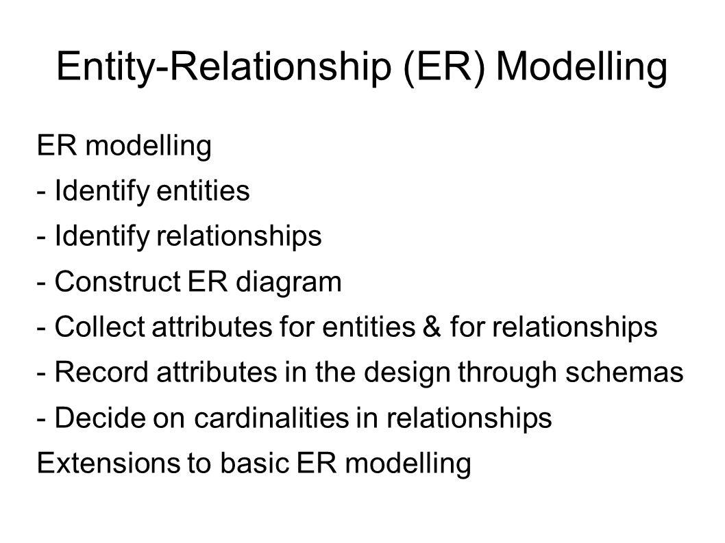 Entity-Relationship (Er) Modelling Er Modelling - Identify