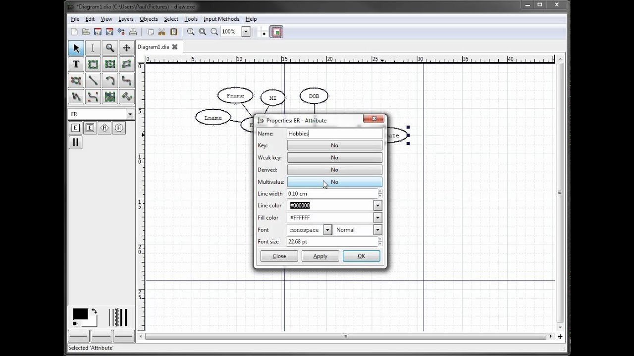 Er Diagrams In Dia Part 5 - Creating A Multivalued Attribute