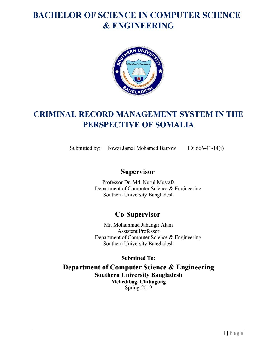 Criminal Record Management System In The Perspective Of