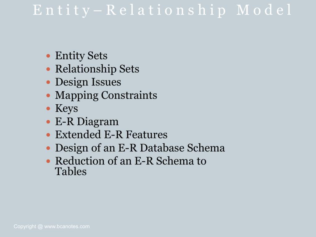 E-R Model - Bca Notes