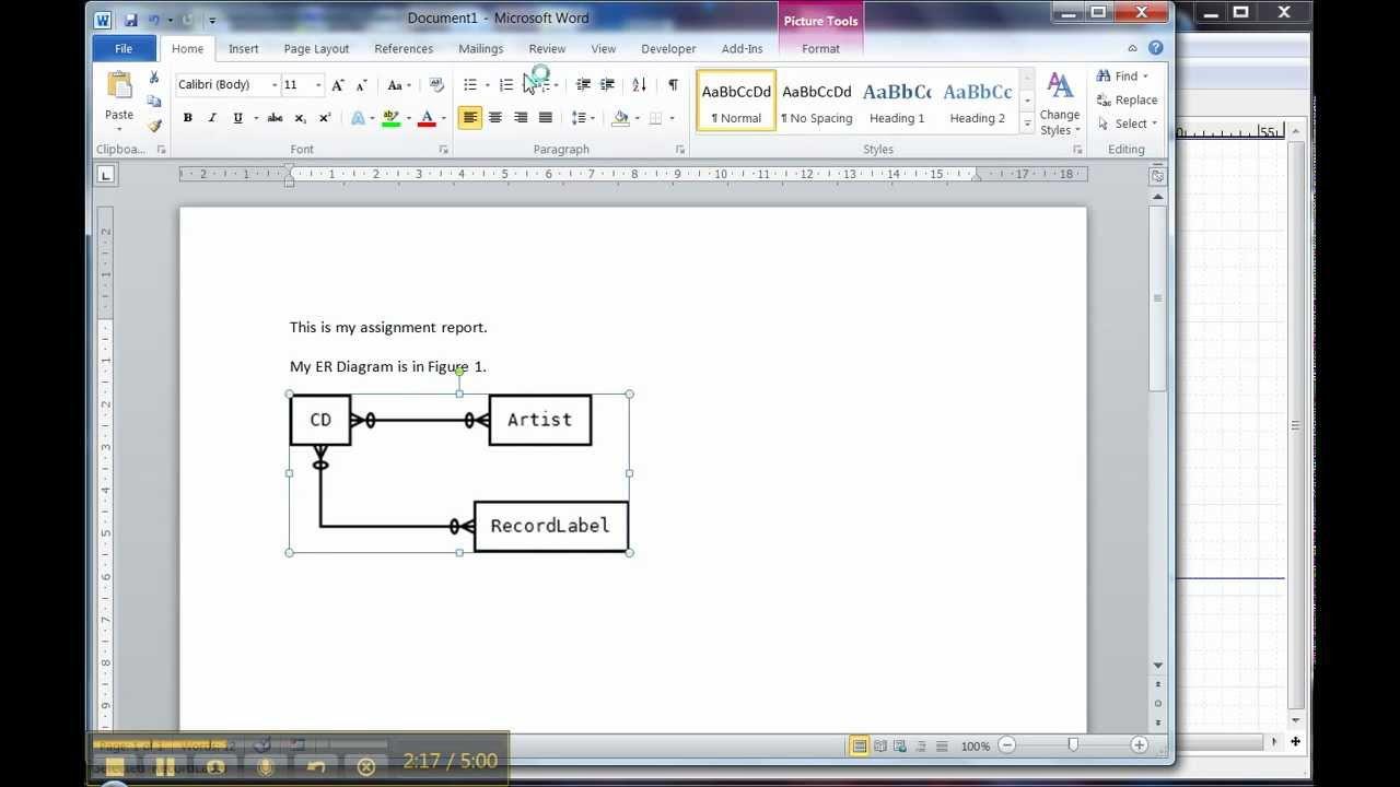 Er Diagram In Dia 3 Of 3: Using The Diagram In Word