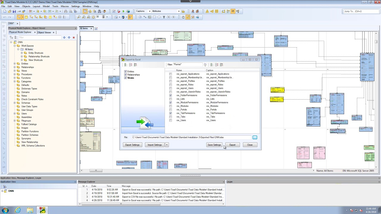 Importing And Exporting Models In Toad Data Modeler