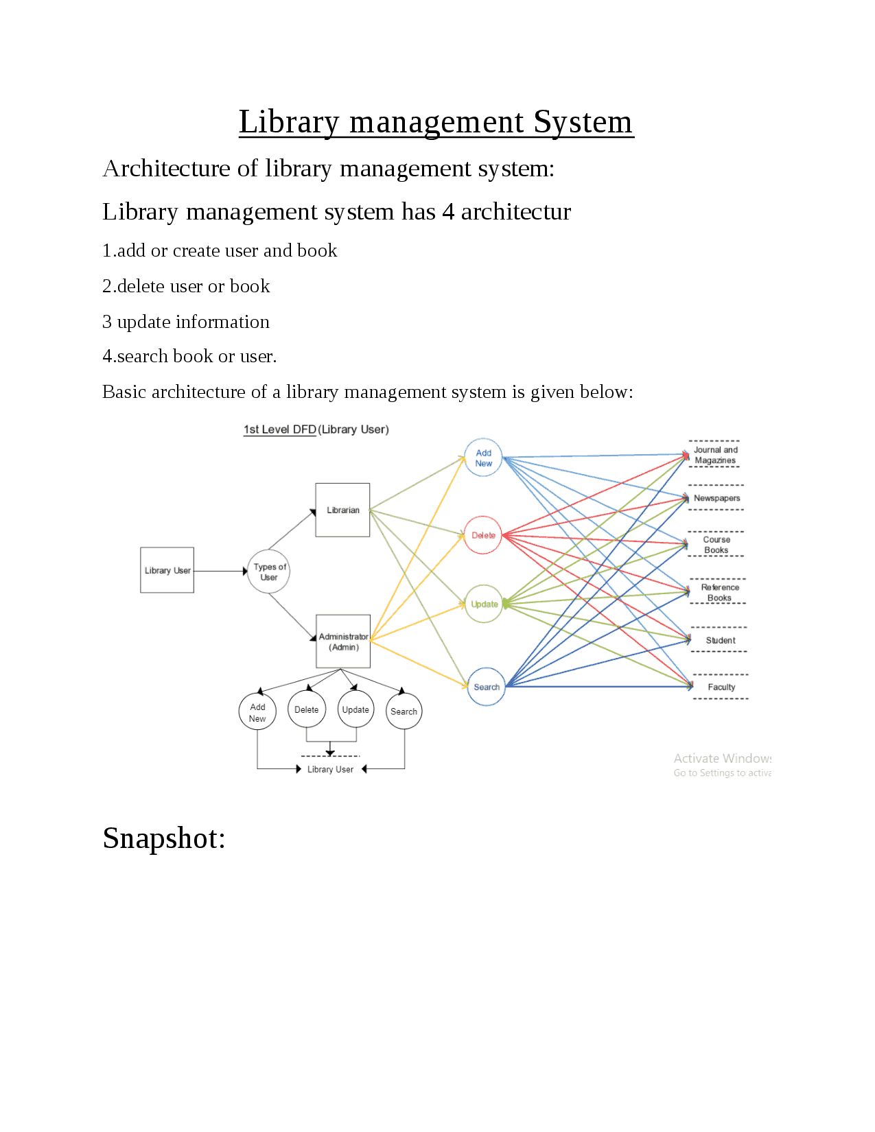 Online Library Management Architecture And E-R Diagram - Docsity