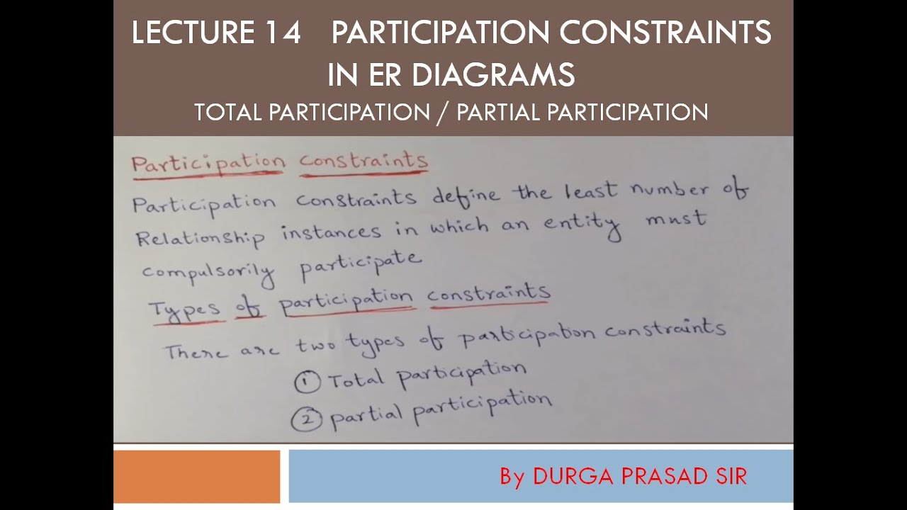 Participation Constraints / Total Participation In Er