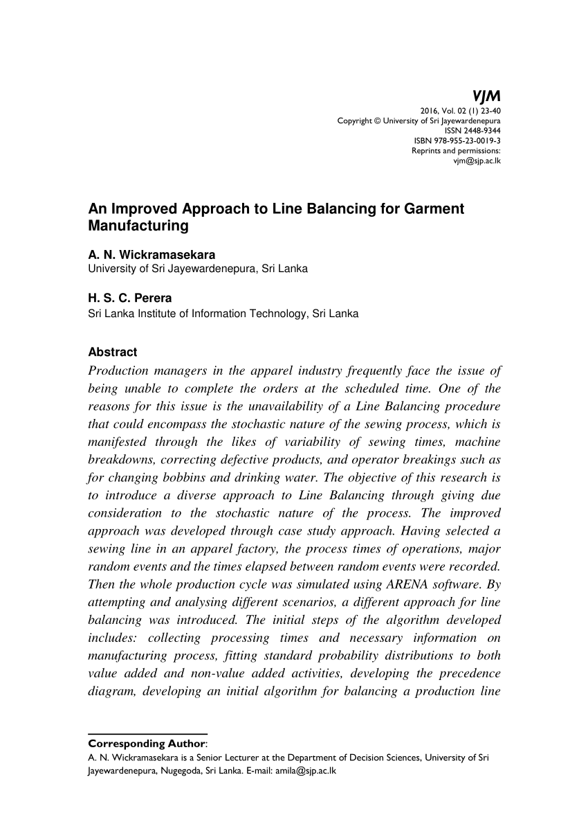 Pdf) An Improved Approach To Line Balancing For Garment