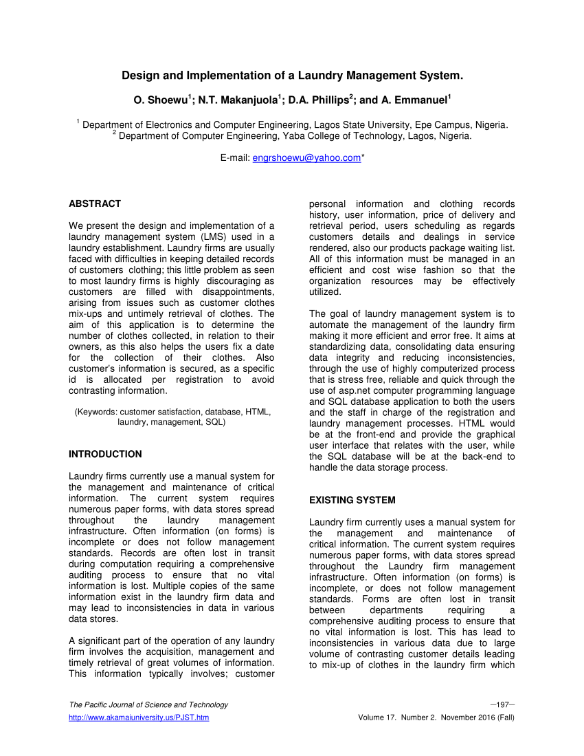 Pdf) Design And Implementation Of A Laundry Management System