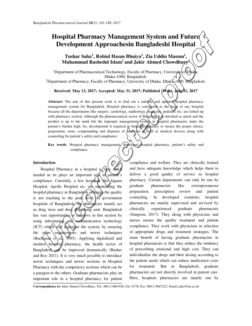 Pdf) Hospital Pharmacy Management System And Future