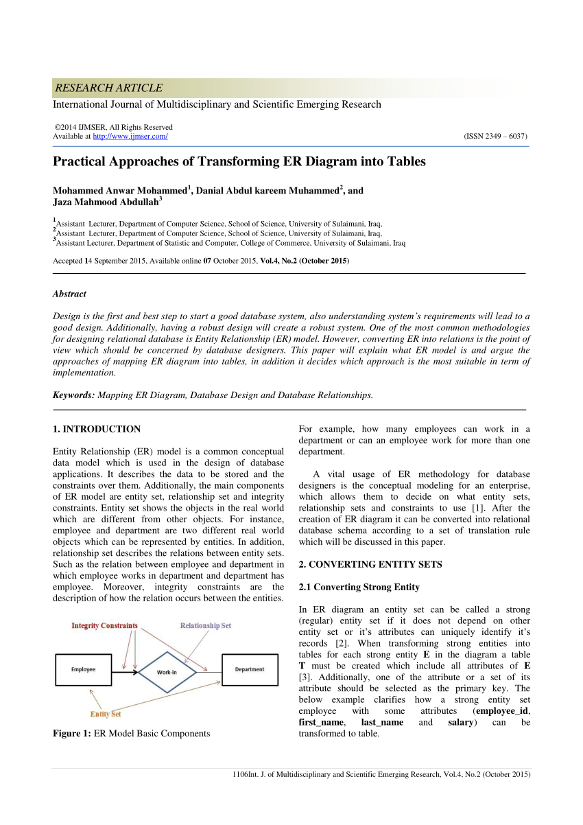 Pdf) Practical Approaches Of Transforming Er Diagram Into Tables