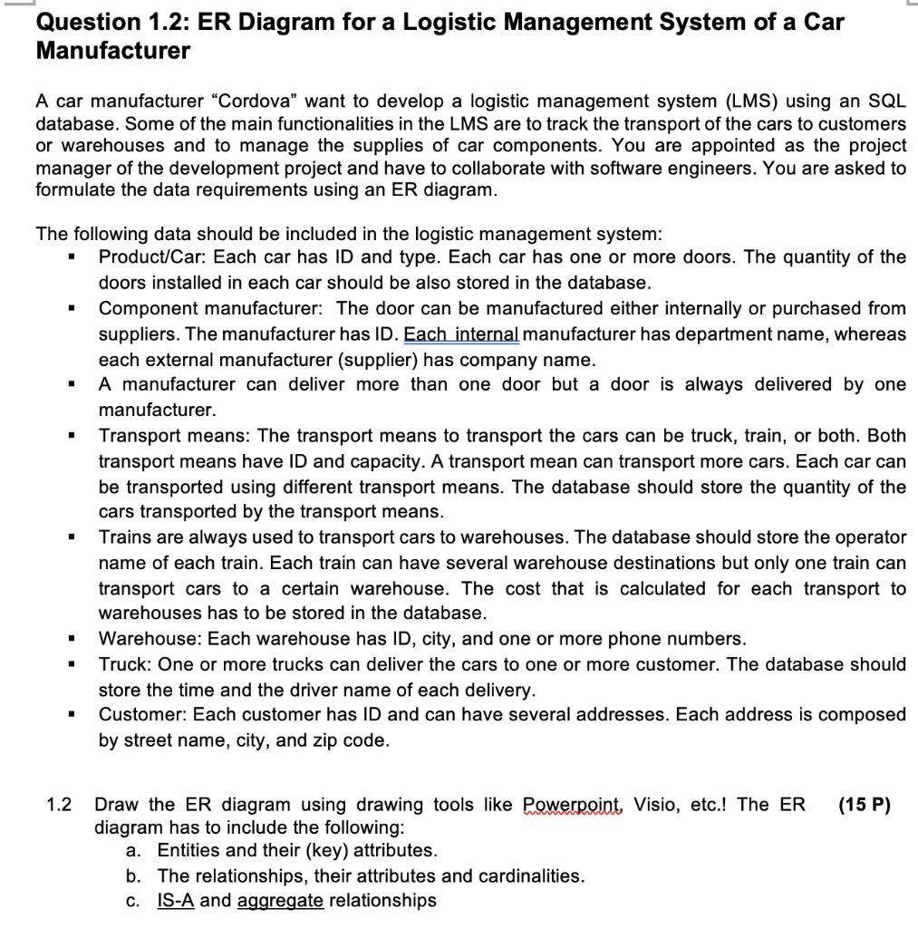 Question 1.2: Er Diagram For A Logistic Management
