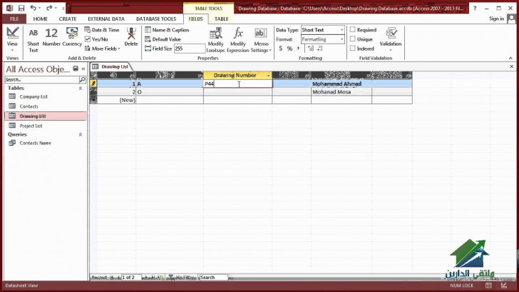 Permalink to 1.2 Using Microsoft Access 2013 In Project Management – Drawing Database in Drawing Database