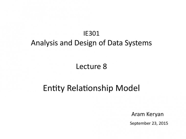 Permalink to Analysis And Design Of Data Systems. Entity Relationship throughout Entity Relationship Analysis