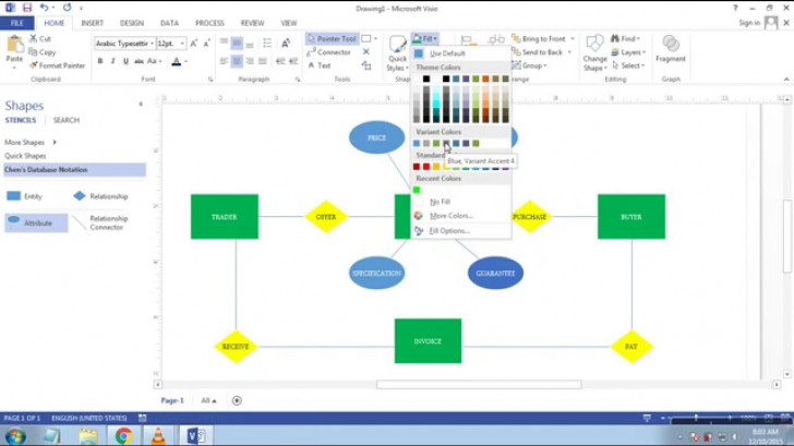 Permalink to Cara Membuat Erd (Entity Relationship Diagram) Di Microsoft Visio 2013 inside Er Diagram Visio 2013