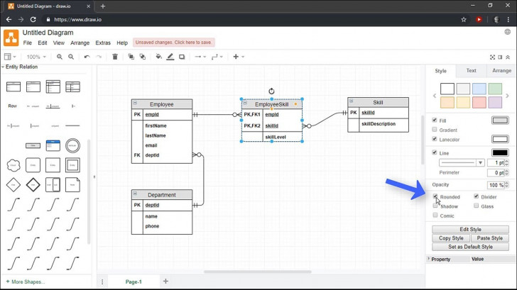 Permalink to Creating Entity Relationship Diagrams Using Draw.io throughout Draw Er Diagram Online Free