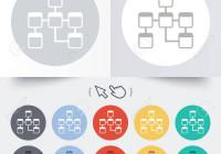 Database Sign Icon. Relational Database Schema Symbol. Round 12 Circle  Buttons. throughout Database Schema Symbols