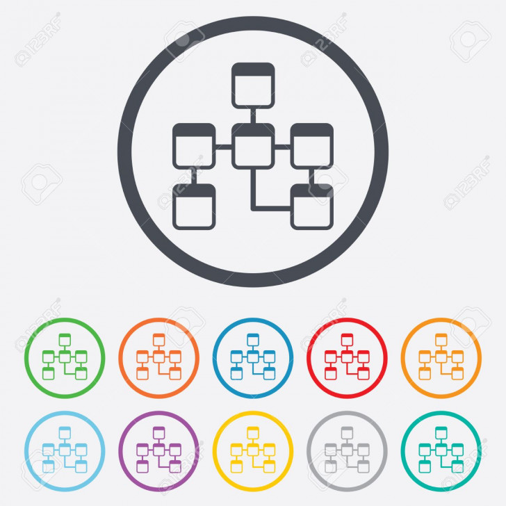 Permalink to Database Sign Icon. Relational Database Schema Symbol. Round Circle Buttons  With Frame. Vector throughout Database Schema Symbols