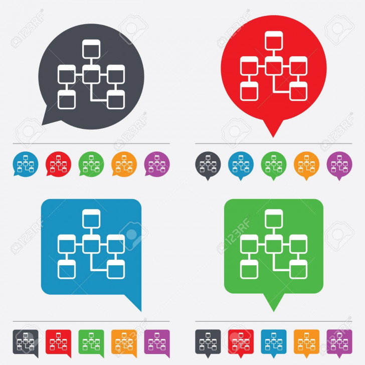 Permalink to Database Sign Icon. Relational Database Schema Symbol. Speech Bubbles  Information Icons. 24 Colored Buttons. Vector intended for Database Schema Symbols