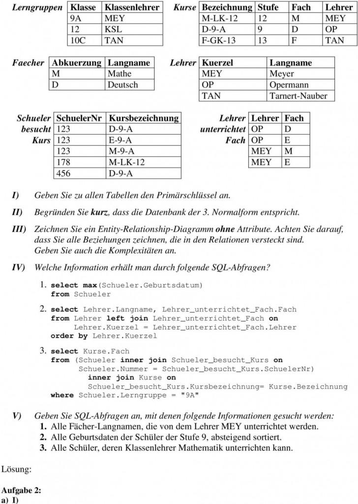Permalink to Datenbanken Entity-Relationship-Modell. Aufgabe 3: – Pdf pertaining to Er Diagramm 3. Normalform