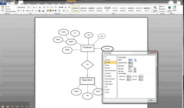 Permalink to Er Diagram In Ms Word Part 9 – Illustrating A Weak Entity within Er Diagram Microsoft Word