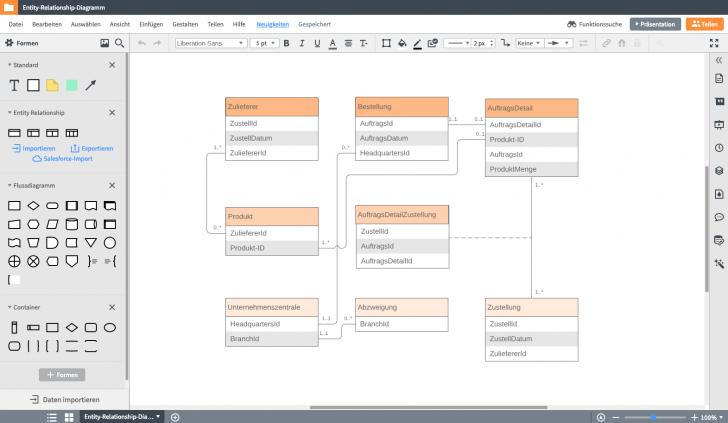 Permalink to Er-Modell Tool: Erd Online Erstellen | Lucidchart throughout Er Diagramm 1 Zu N