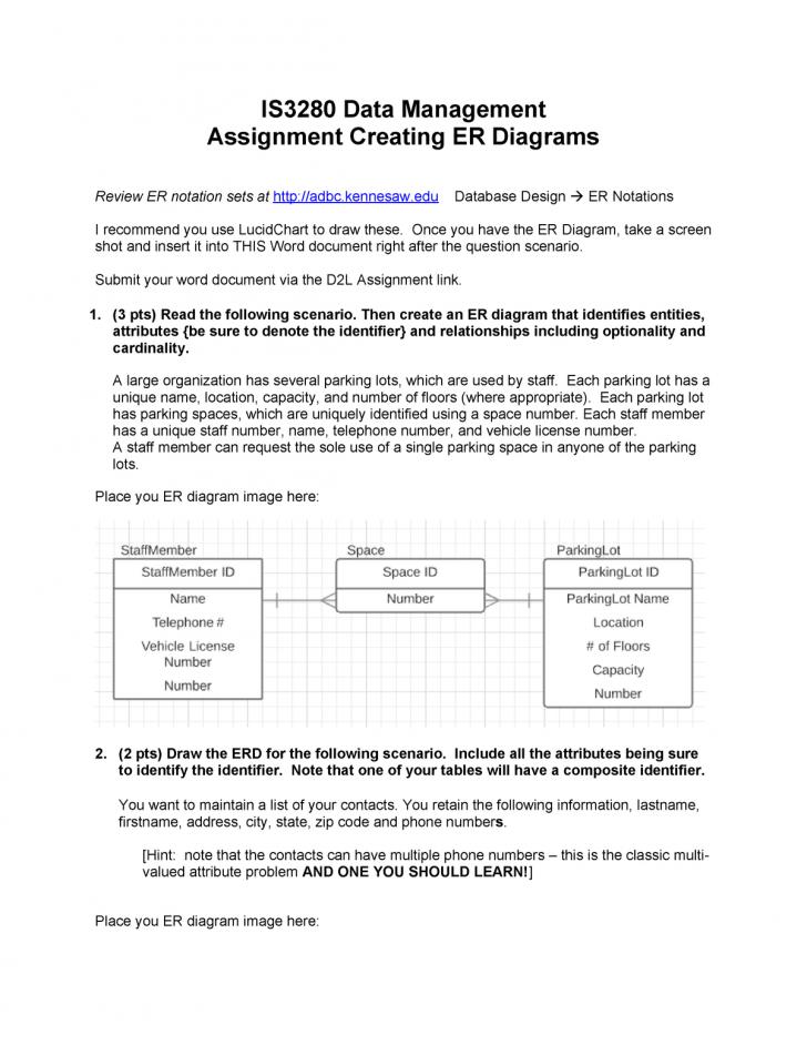 Permalink to Erdassignment – Assignment For Module 2 – Is 3280 – Studocu in Er Diagram Unique Attribute