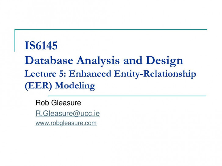 Permalink to Is6145 Database Analysis And Design Lecture 5: Enhanced pertaining to Entity Relationship Analysis