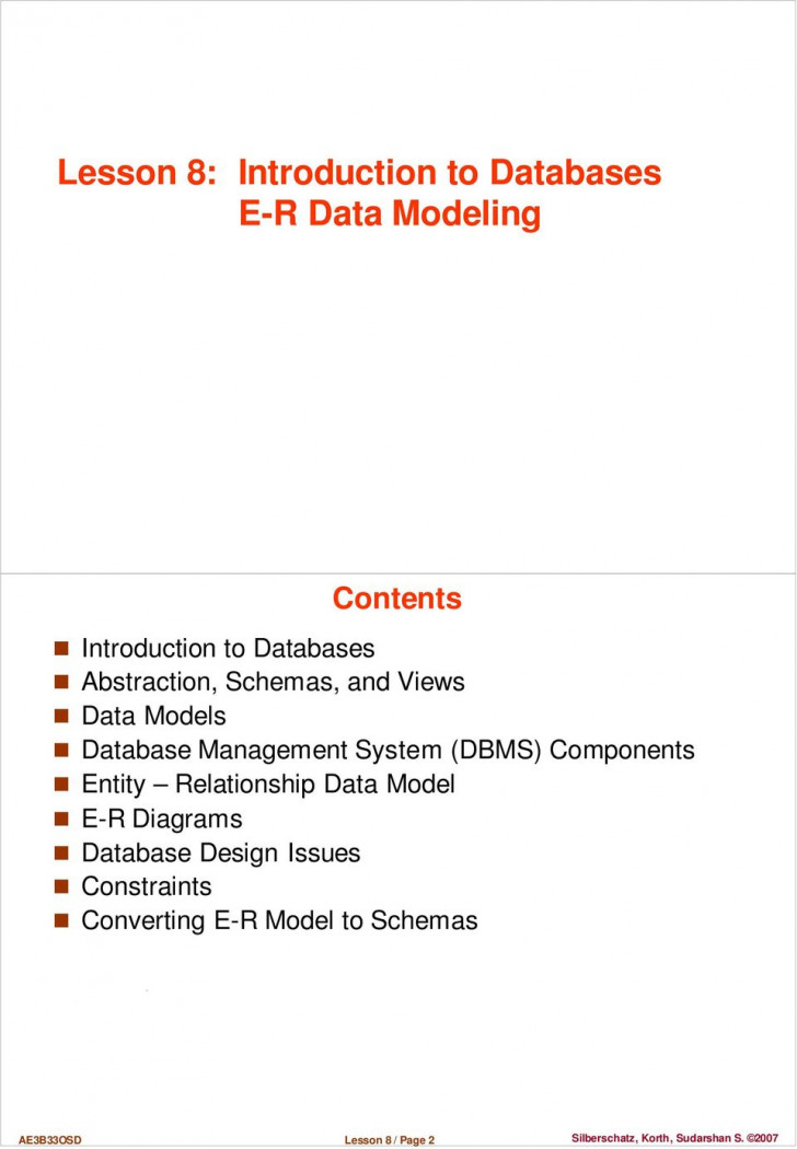 Permalink to Lesson 8: Introduction To Databases E-R Data Modeling – Pdf for Er Diagram Korth