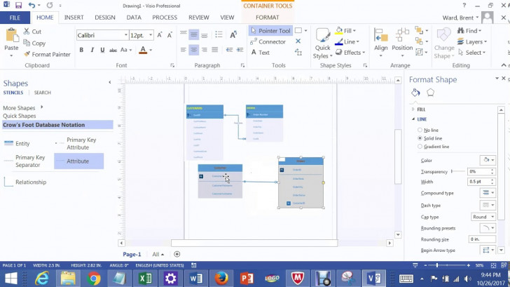Permalink to One To Many Relationships In Visio 2013 Lab 1A Bis 245 inside Er Diagram Visio 2017