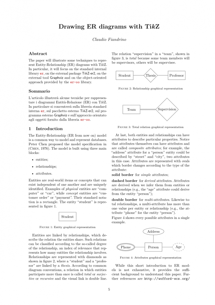 Permalink to Pdf) Drawing Er Diagrams With Tikz for Er Diagram Latex