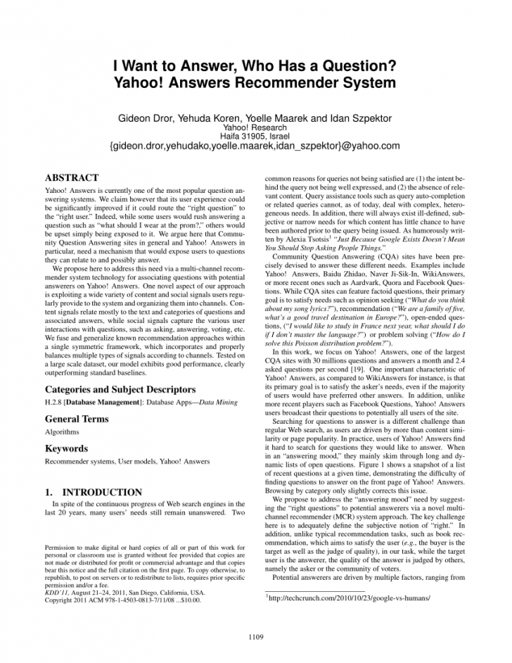 Permalink to Pdf) I Want To Answer, Who Has A Question? Yahoo! Answers with Er Diagram Yahoo Answers