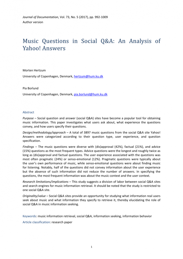 Permalink to Pdf) Music Questions In Social Q&a: An Analysis Of Yahoo pertaining to Er Diagram Yahoo Answers