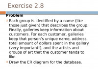 Practice Exercises. Database Design. Relational Model pertaining to Er Diagram Exercise