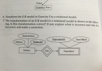 Solved: The Transformation Of An Er Model To A Relational inside Explain Er Model