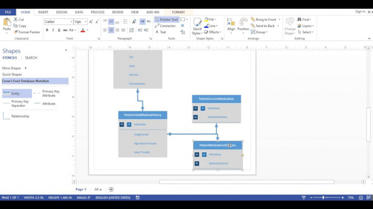 Permalink to Visio 2013 – Database Diagram (Crows Foot Notation) pertaining to Er Diagram Stencil For Visio 2013