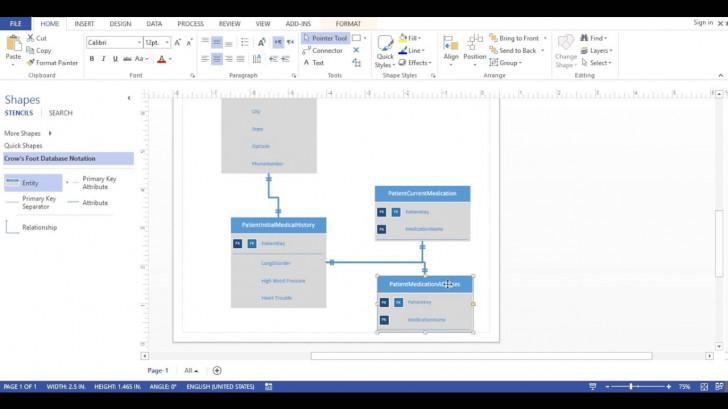 Permalink to Visio 2013 – Database Diagram (Crows Foot Notation) regarding Er Diagram Visio Example